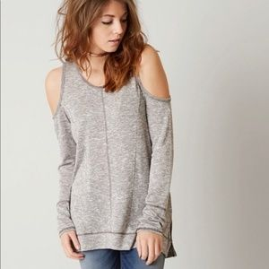 Daytrip Cold Shoulder Gray Knit Sweater Boho Top